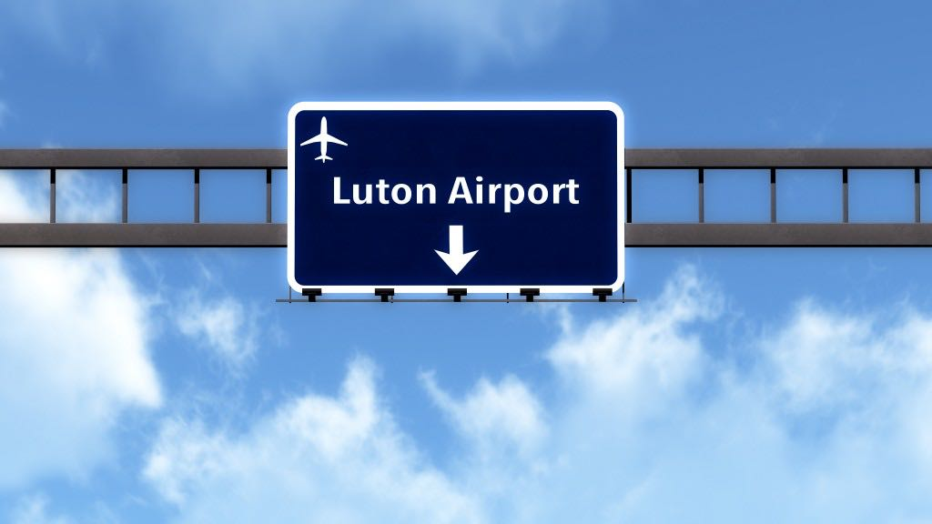 London Luton England United Kingdom Airport Highway Road Sign 3D Illustration