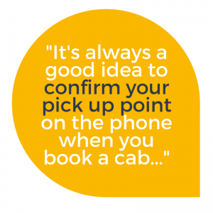 Speech quote: Confirm your pick up point at Luton Airport with your taxi in advance