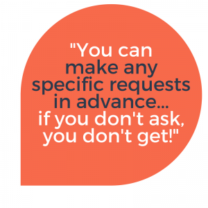 Speech Quote: You can make any specific requests in advance from service extras to drivers