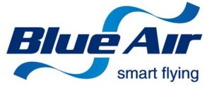 Blue Air Logo, at Luton Airport Arrivals