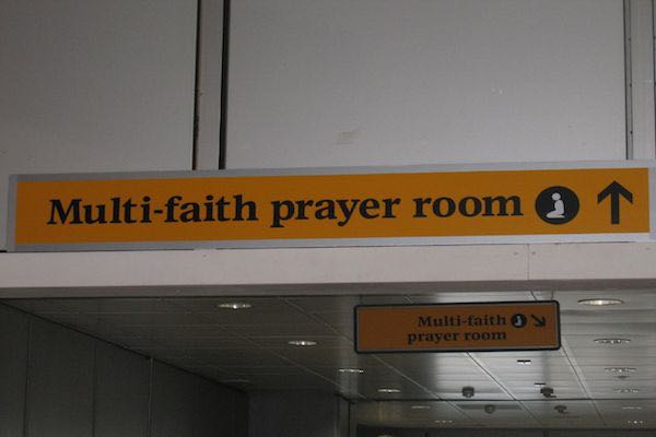Signs for the new luton airport prayer room